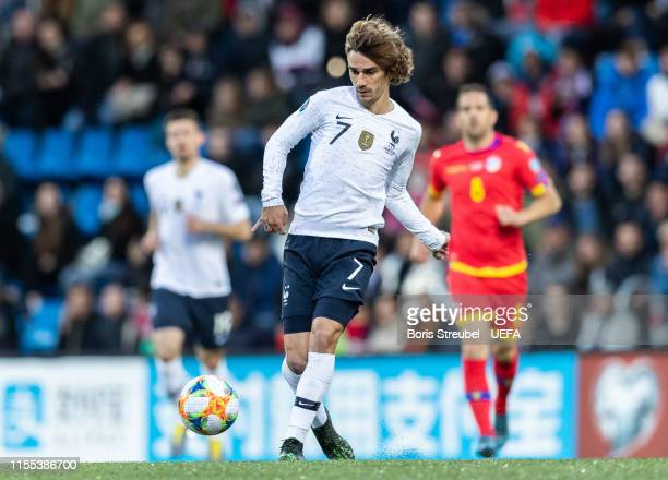Antoine Griezmann of France runs with the ball during the UEFA Euro 2020 Qualifier Group H match between Andorra and France at Estadi Nacional on...