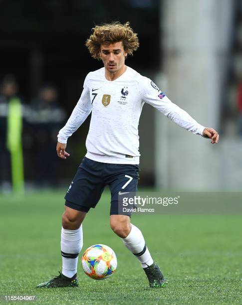 Antoine Griezmann of France runs with the ball during the UEFA Euro 2020 Qualification match between Andorra and France at Estadi Nacional on June 11...