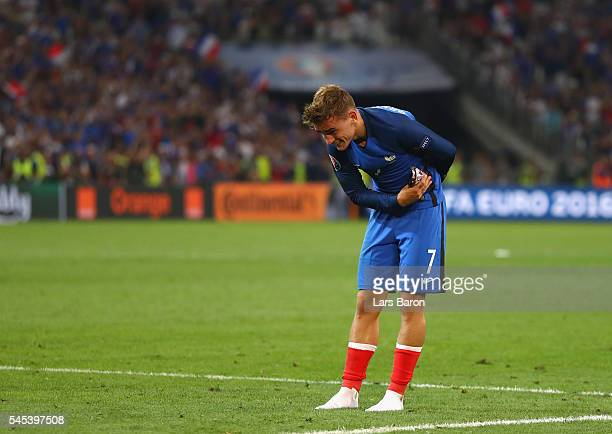 Antoine Griezmann of France salutes to supporters after his team's 20 win in the UEFA EURO semi final match between Germany and France at Stade...