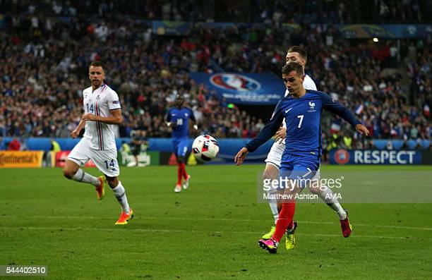 Antoine Griezmann of France scores a goal to make it 40 during the UEFA Euro 2016 quarter final match between France and Iceland at Stade de France...