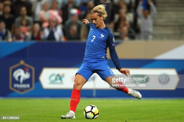 Antoine Griezmann of France scores a goal to make the score 10 during the FIFA 2018 World Cup Qualifier match between France and The Netherlands at...