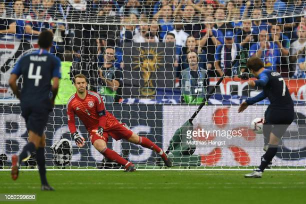 Antoine Griezmann of France scores a penalty for his team's second goal during the UEFA Nations League A group one match between France and Germany...