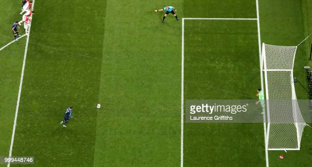 Antoine Griezmann of France scores his team's second goal from the penalty spot past Danijel Subasic of Croatia during the 2018 FIFA World Cup Final...