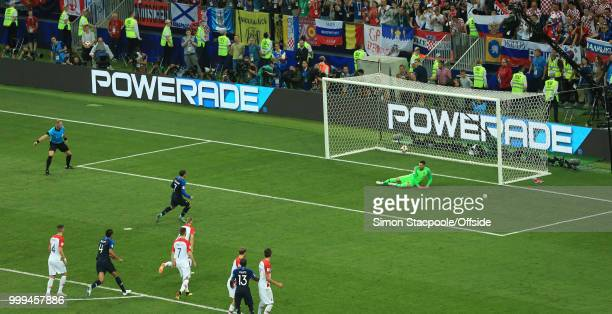 Antoine Griezmann of France scores the second goal for his team from the penalty spot during the 2018 FIFA World Cup Russia Final between France and...