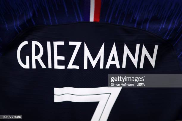 Antoine Griezmann of France shirt hangs in the changing room prior to the UEFA Nations League Group A match between Germany and France at Allianz...
