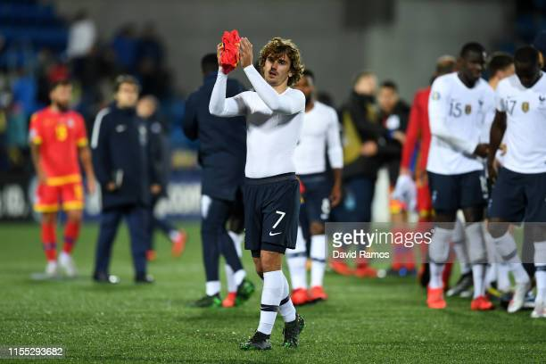 Antoine Griezmann of France shows appreciation to the fans following his team's victory during the UEFA Euro 2020 Qualification match between Andorra...