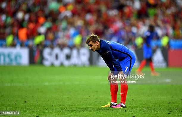 Antoine Griezmann of France shows his dejection afetr Portugal's first goal during the UEFA EURO 2016 Final match between Portugal and France at...