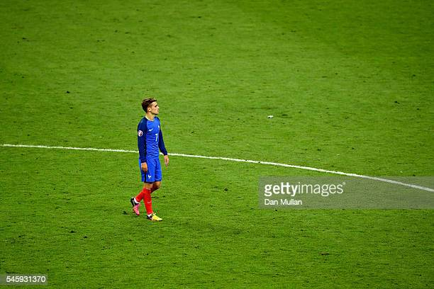 Antoine Griezmann of France shows his dejection after his team's 01 defeat in the UEFA EURO 2016 Final match between Portugal and France at Stade de...