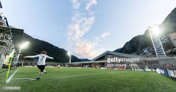 Antoine Griezmann of France takes a corner during the UEFA Euro 2020 Qualifier Group H match between Andorra and France at Estadi Nacional on June 11...