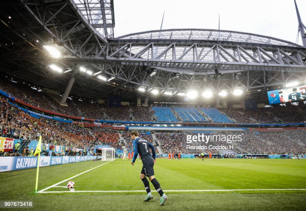 Antoine Griezmann of France takes a corner kick during the 2018 FIFA World Cup Russia Semi Final match between Belgium and France at Saint Petersburg...