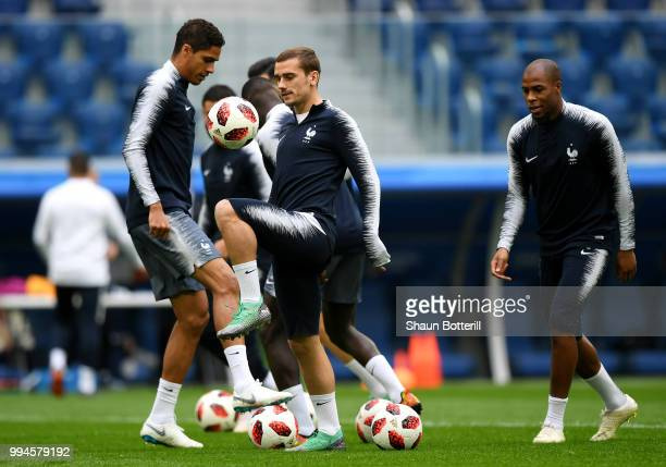 Antoine Griezmann of France takes part during a France Training Session at Saint Petersburg Stadium on July 9 2018 in Saint Petersburg Russia