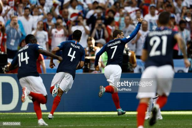 Antoine Griezmann of France team celebrates after scores an opener in the first half during the match of the Round of 16 in FIFA World Cup Russia at...