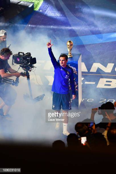 Antoine Griezmann of France with the World Cup following the Nations League match between France and Netherlands at Stade de France on September 9...