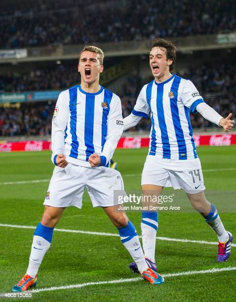 Antoine Griezmann of Real Sociedad celebrates after scoring during the La Liga match between Real Sociedad de Futbol and Athletic Club Bilbao at...