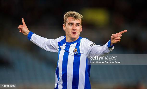 Antoine Griezmann of Real Sociedad celebrates after scoring their second goal during the La Liga match between Real Sociedad de Futbol and Elche FC...