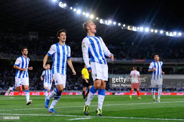 Antoine Griezmann of Real Sociedad de Futbol celebrates after scoring the opening goal during the La Liga match between Real Sociedad de Futbol and...