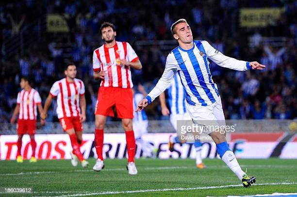 Antoine Griezmann of Real Sociedad de Futbol celebrates after scoring his team's second goal during the La Liga match between Real Sociedad de Futbol...