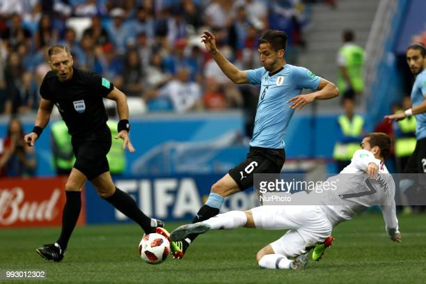 Antoine Griezmann Rodrigo Bentacur during 2018 FIFA World Cup Russia Quarter Final match between Uruguay and France at Nizhny Novgorod Stadium on...