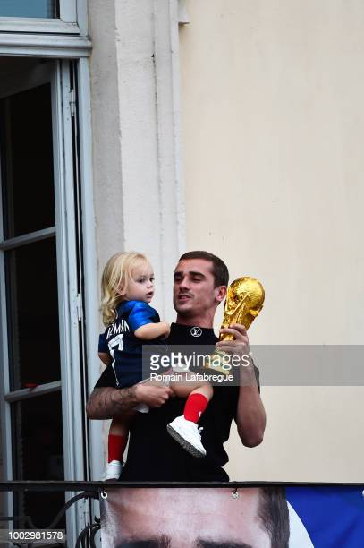 Antoine Griezmann with his daughter celebrates France victory in World Cup in his hometown on July 20 2018 in Macon France