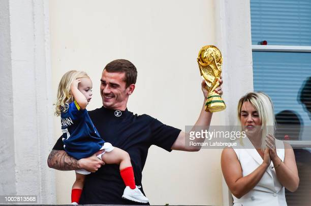 Antoine Griezmann with his daughter Mia and his wife Erika Choperena celebrate France victory in World Cup in his hometown on July 20 2018 in Macon...