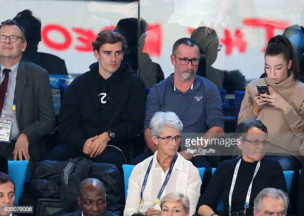 Antoine Griezmanna and his father Alain Griezmann attend the 25th IHF Men's World Championship 2017 Final between France and Norway at Accorhotels...