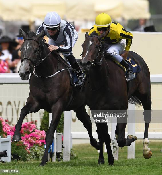 Antoine Hamilton on Different League beats Colm O'Donoghue on Alpha Centauri to win thw Albany Stakes during Day Four of Royal Ascot at Ascot...