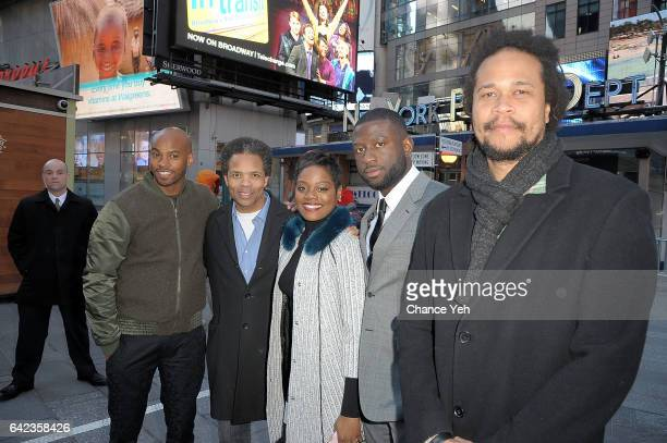 Antoine Harris Jesse Jackson Jr Afton Williamson Sinqua Walls and Seith Mann of Vh1's 'The Breaks' attends the Nasdaq opening bell at NASDAQ on...