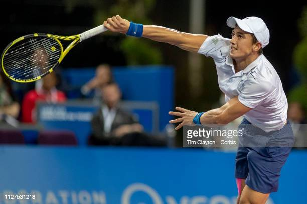 Antoine Hoang of France in action during his round one win against Steve Darcis of Belgium during the Open Sud de France Tennis Tournament at the Sud...