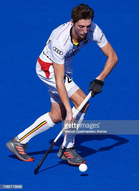 Antoine Kina of Belgium in action during the Men's FIH Field Hockey Pro League match between Spain and Belgium at Polideportivo Virgel del...
