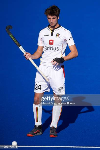 Antoine Kina of Belgium looks on during the Men's FIH Field Hockey Pro League match between Spain and Belgium at Polideportivo Virgel del...