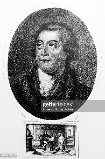 Antoine Laurent LAVOISIER 17431794 the vignette at the bottom shows Lavoisier investigating the existence of oxygen in the air experiment in which he...
