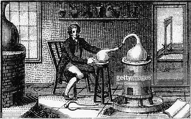 Antoine Laurent Lavoisier 18th century French chemist in his laboratory 1814 Lavoisier is at a distillation furnace and through the open door can be...