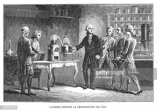 Antoine Laurent Lavoisier French chemist demonstrating his discovery of oxygen 1776 On the table in the right background of the picture is his...
