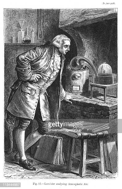 Antoine Laurent Lavoisier French chemist investigating the existence of oxygen in the air experiment in which he obtained mercuric oxide From Camille...