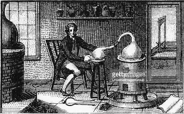 Antoine Laurent Lavoisier in his laboratory Lavoisier French chemist is at a distillation furnace and through the open door can be seen the...