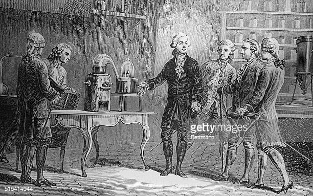 Antoine Lavoisier is shown demonstrating the decomposition of water