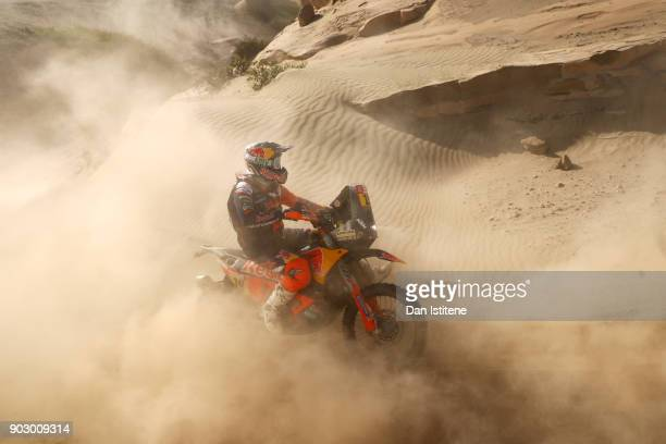 Antoine Meo of France and Red Bull KTM rides a 450 Rally Replica KTM bike in the Elite ASO during stage four of the 2018 Dakar Rally a loop stage to...