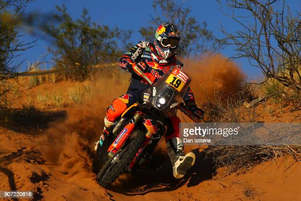 Antoine Meo of France and Red Bull KTM rides a 450 Rally Replica KTM bike in the Elite ASO during stage thirteen of the 2018 Dakar Rally between San...