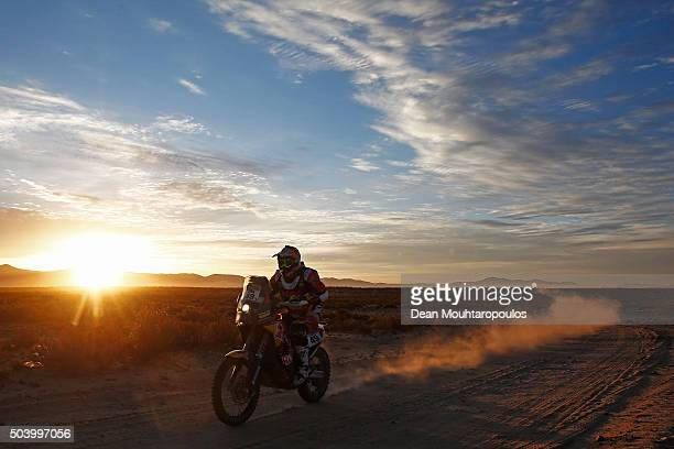 Antoine Meo of France riding on and for KTM 450 RALLY REPLICA RED BULL KTM FACTORY TEAM competes on day 6 during stage six of the 2016 Dakar Rally on...