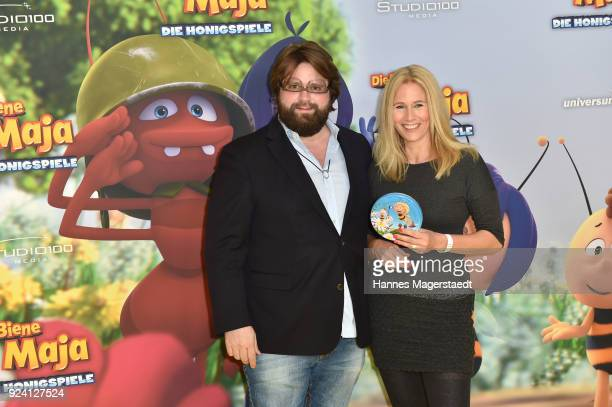 Antoine Monot Jr and his partner Stefanie Sick during the premiere of 'Biene Maja Die Honigspiele' at Mathaeser Filmpalast on February 25 2018 in...