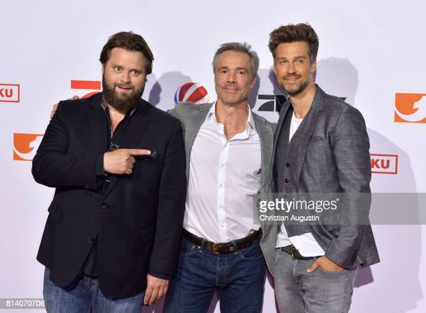 Antoine Monot Jr Hannes Jaenicke and Wayne Carpendale attend the program presentation of the television channel ProSiebenSat1 on July 13 2017 in...
