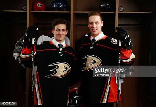 Antoine Morand 60th overall pick and Maxime Comtois 50th overall pick of the Anaheim Ducks pose for a portrait during the 2017 NHL Draft at United...