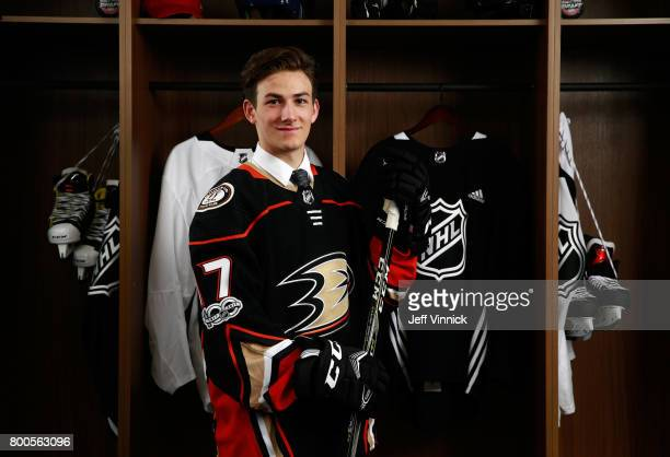 Antoine Morand 60th overall pick of the Anaheim Ducks poses for a portrait during the 2017 NHL Draft at United Center on June 24 2017 in Chicago...