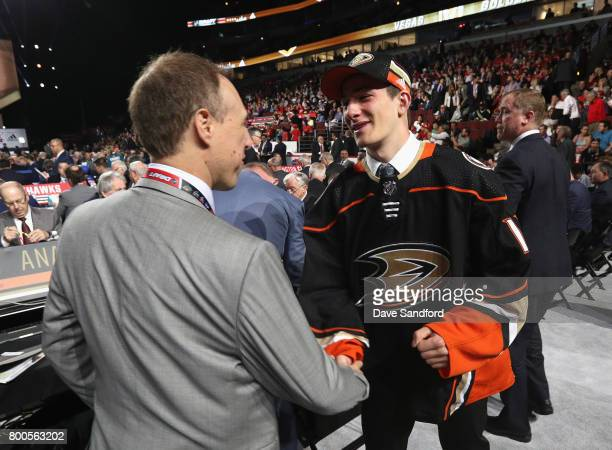 Antoine Morand greets the team after being selected 60th overall by the Anaheim Ducks during the 2017 NHL Draft at United Center on June 24 2017 in...