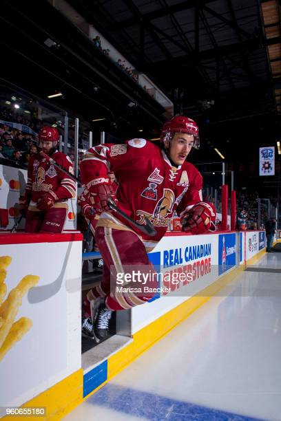 Antoine Morand of AcadieBathurst Titan enters the ice at the start of the game against the Swift Current Broncos at the Brandt Centre on May 19 2018...