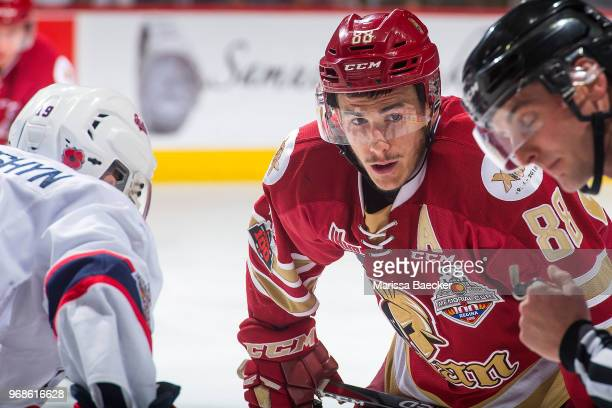 Antoine Morand of AcadieBathurst Titan lines up for the face off against the Regina Pats at Brandt Centre Evraz Place on May 27 2018 in Regina Canada