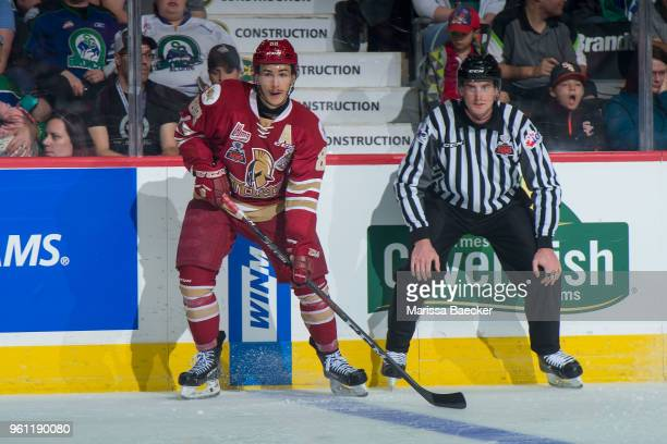 Antoine Morand of AcadieBathurst Titan looks for the pass against the Swift Current Broncos at the Brandt Centre on May 19 2018 in Regina Canada