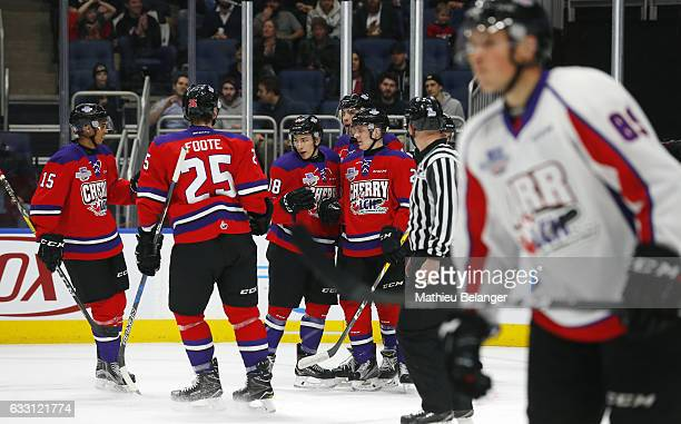 Antoine Morand of Team Cherry is congratulated by teammates PierreOlivier Joseph Cal Foote Robert Thomas and Adam Ruzicka during the first quarter of...