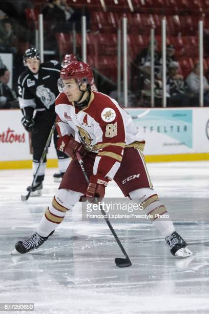 Antoine Morand of the AcadieBathurst Titan skates with the puck against the Gatineau Olympiques on October 18 2017 at Robert Guertin Arena in...