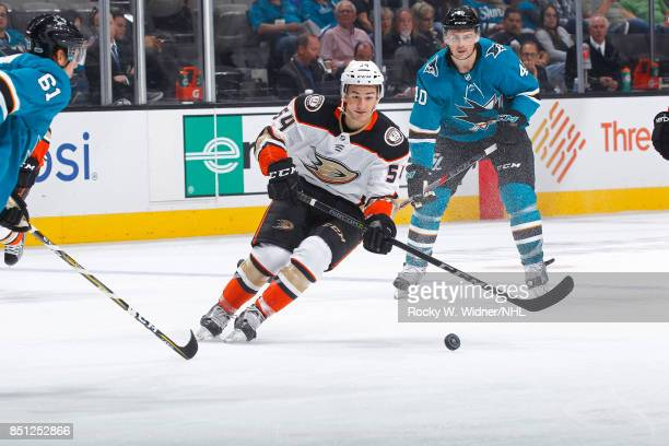 Antoine Morand of the Anaheim Ducks skates after the puck against the San Jose Sharks at SAP Center on September 19 2017 in San Jose California
